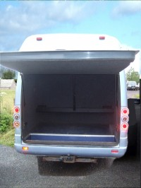Generous luggage space in the 12-seater minibus with tables and aircraft style lockers over the seating also available. MInibus hire from Sweeneys of Muthill, Perthshire, Scotland, UK