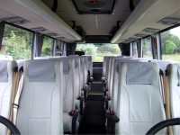 Inside view of white 26-Seater Minibus for Hire from Sweeneys of Muthill, Perthshire, Scotland